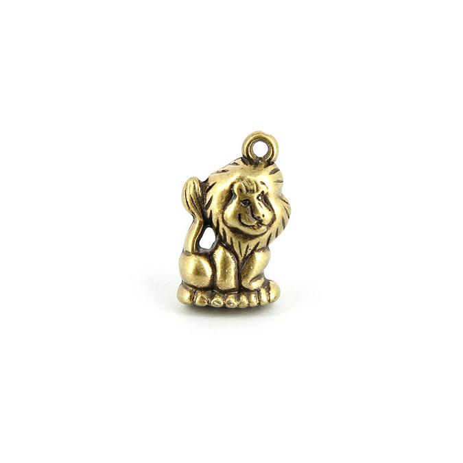 Breloque en métal lion avec anneau or vieilli - 23 x 13 mm