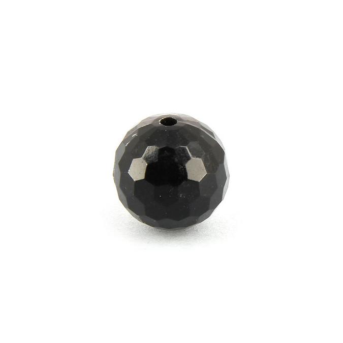 Perle ronde résine à facettes noire - 15 mm