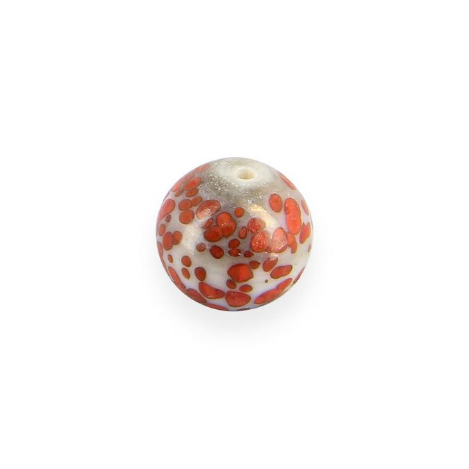 Perle en céramique ronde tâchetée nacrée gris - rouge - 12 mm