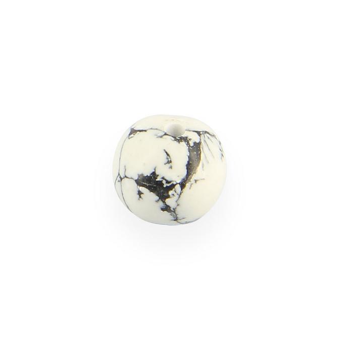 Perle en céramique marbrée ronde blanc - noir 10 mm