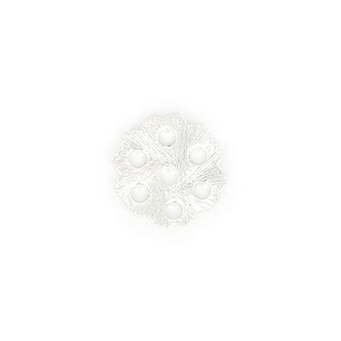 Perle en métal pétale fleurs 7 trous argent brillant - 12 x 12 mm