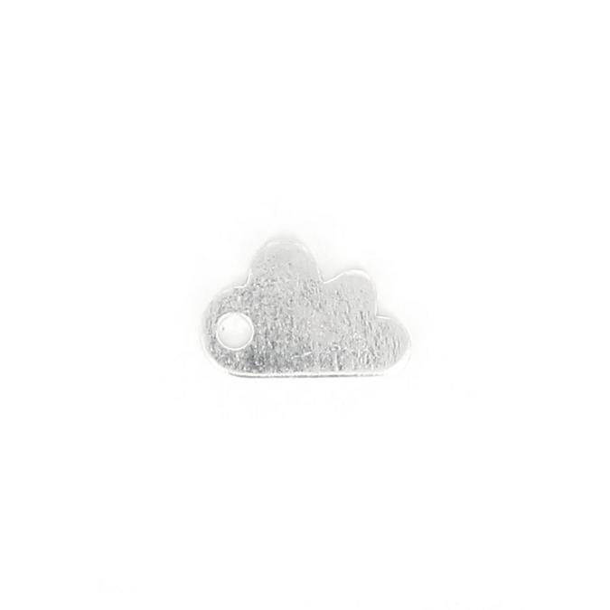 Estampe en métal nuage argent brillant - 12 x 8 mm