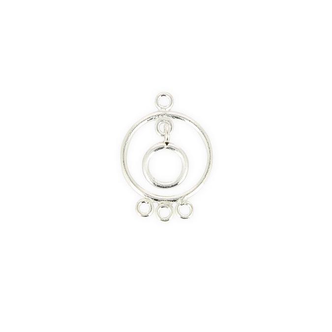 Breloque en métal ronde 4 anneaux avec pendant argent - 20 x 27 mm