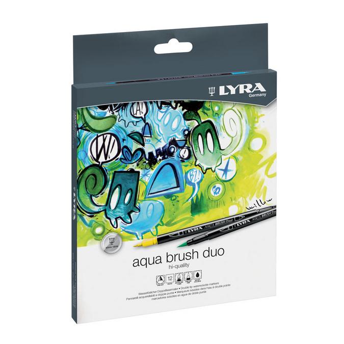 Feutre pinceau Aqua Brush Duo 12 couleurs