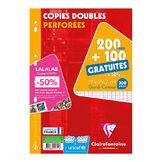 Paquet de copie double perforée A4 200 pages + 100 gratuites  Séyès