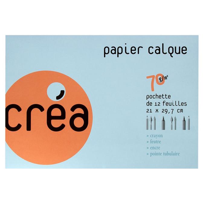 Papier calque 70g A4 pochette de 12 feuilles