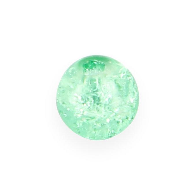 Perle en verre ronde vert d'eau brillant - 8 mm