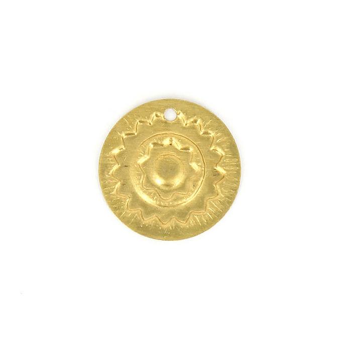 Breloque pastille métal ronde motif soleil laiton - 23 x 23 mm