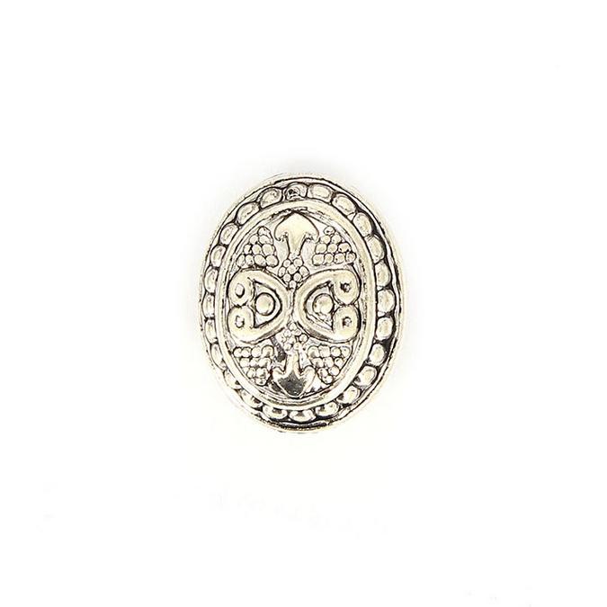 Perle en résine ovale aplatie motif cœur argent vieilli - 25 x 20 mm