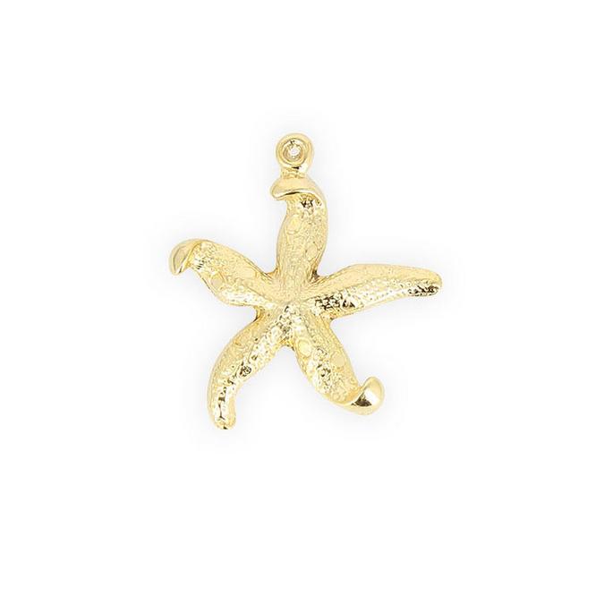 Perle breloque en métal étoile de mer 5 branches or - 27 mm