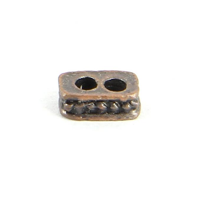 Perles intercalaires métal rectangulaire 2 trous à motif pois cuivre vieilli - 10 mm
