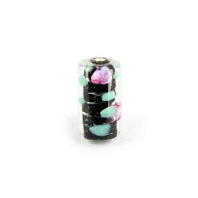 Perle en verre cylindrique trou centre fleuri noir - 10 x 16 mm