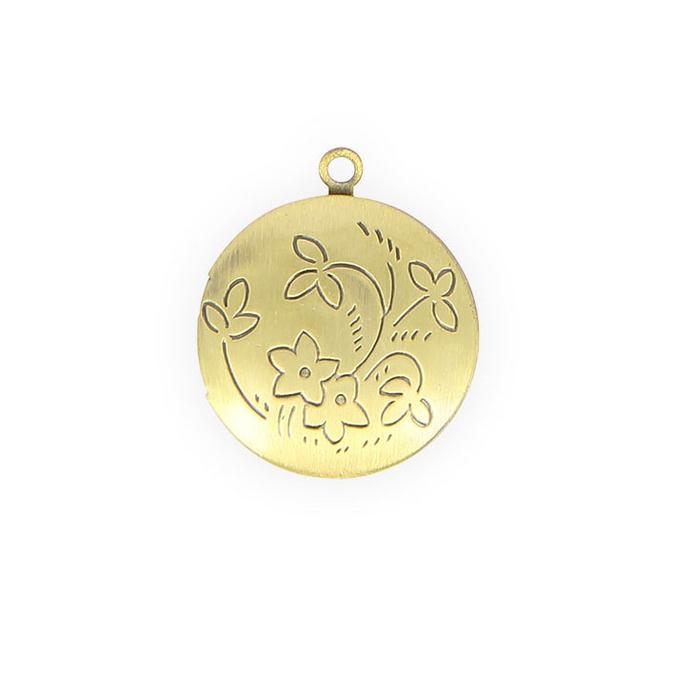 Médaillon rond à ouvrir métal avec fleur gravée or - 20 mm