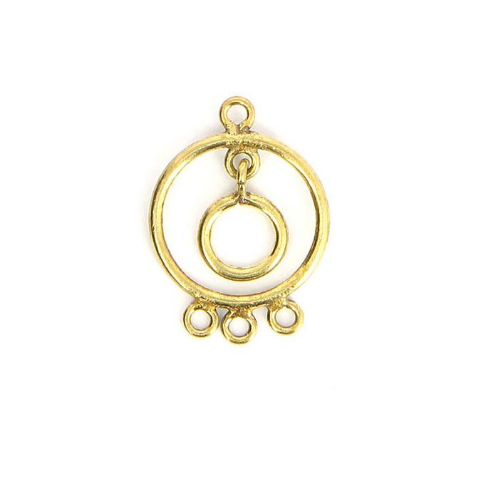 Breloque en métal ronde 4 anneaux avec pendant laiton vieilli - 20 x 27 mm