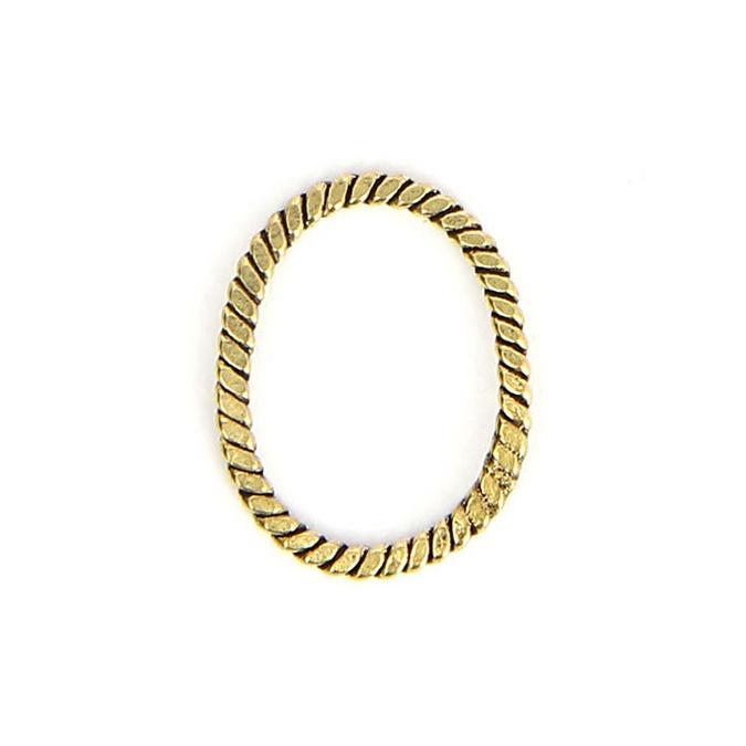 Anneau en métal oval corde tressée laiton vieilli - 15 x 19 mm
