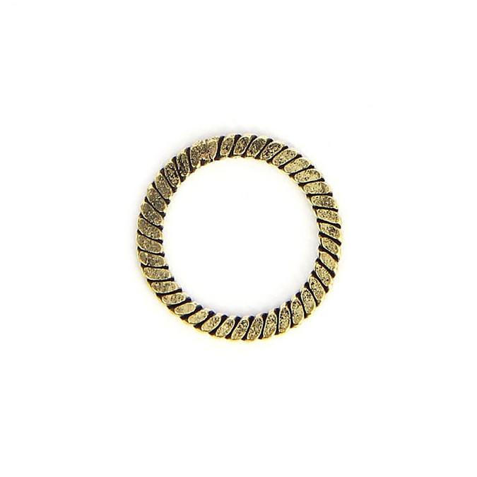 Anneau en métal rond corde tressée laiton vieilli - 15 x 19 mm