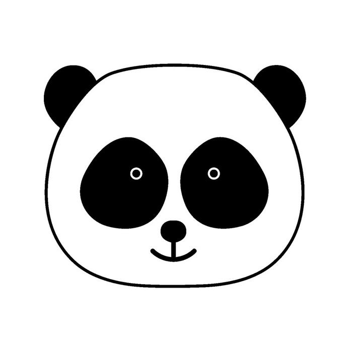 Tampon en bois Adorable Tête de panda 2,6 x 2,6 cm