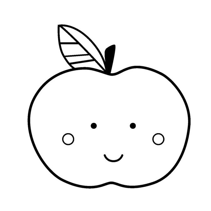 Tampon en bois Adorable Pomme 3 x 3 cm
