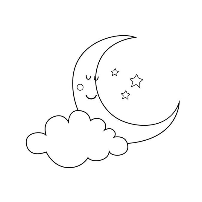 Tampon en bois Adorable Lune 4 x 6 cm