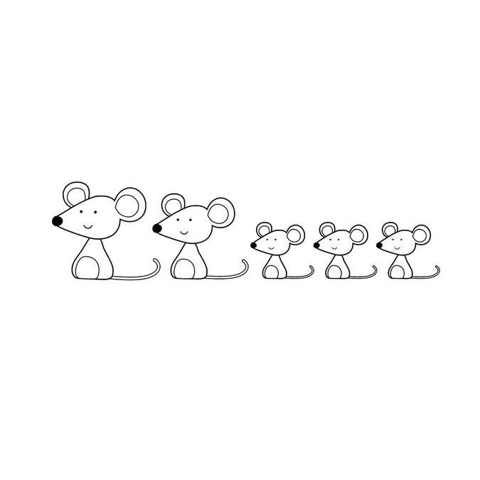 Tampon en bois Adorable Famille souris 10 x 3 cm