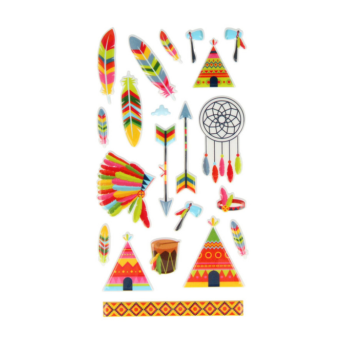 Stickers Puffies Totem Indiens x 21 pcs