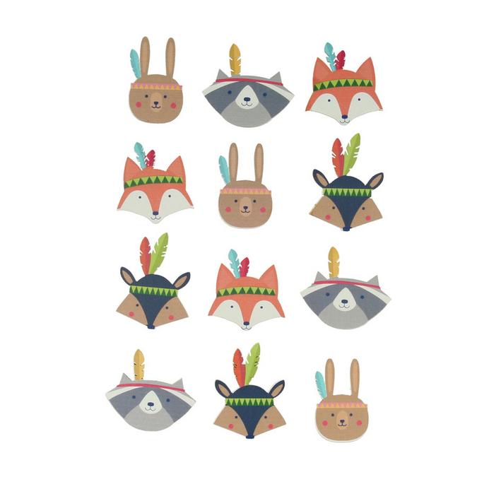Stickers en bois Totem Personnages x 12 pcs
