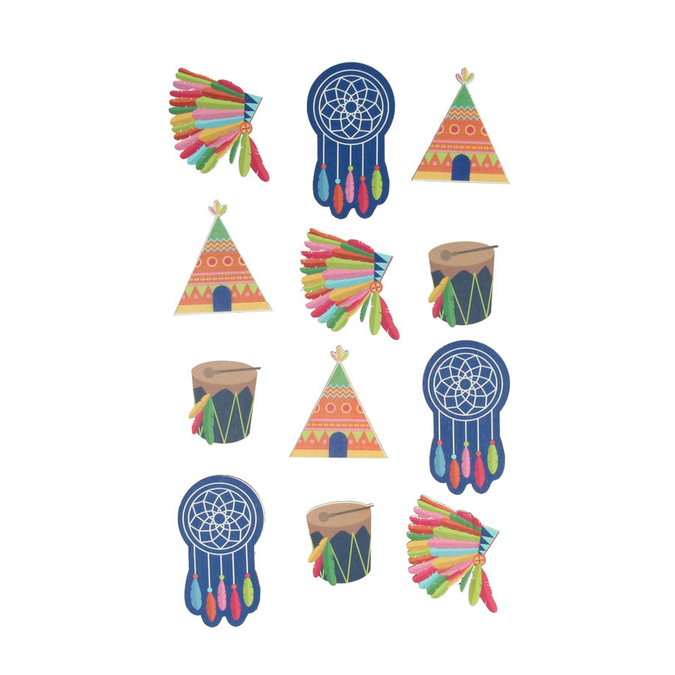 Stickers en bois Totem Indiens x 12 pcs