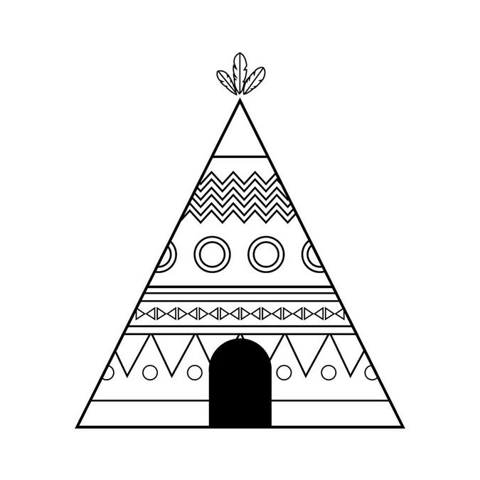 Tampon en bois Totem Tipi 5 x 6