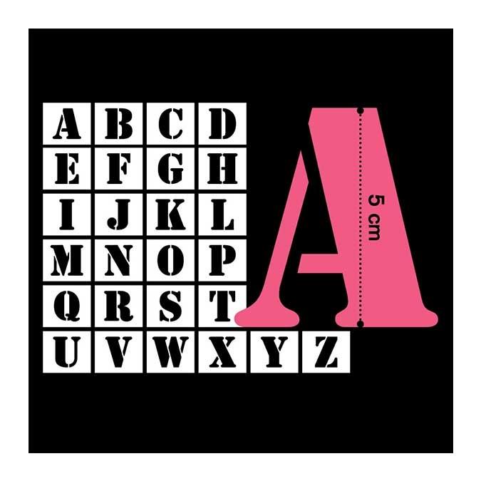 Pochoir lettres 5 cm - 26 pcs