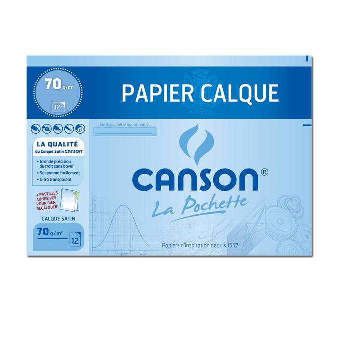 Papier calque 70 g/m² 24 x 32 cm Pochette 12 feuilles