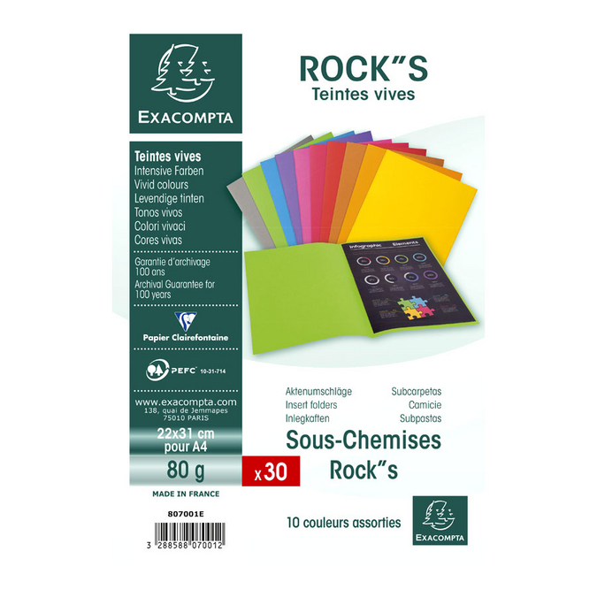 Sous-chemise Rock''S 22 x 31 cm - 30 pcs