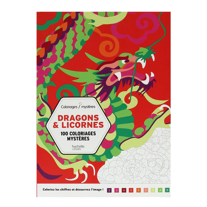 Livre Dragons & licornes 100 coloriages mystères