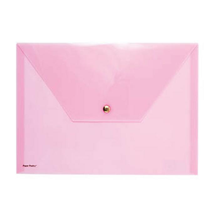 Pochette rose avec bouton pression 33 x 24 cm