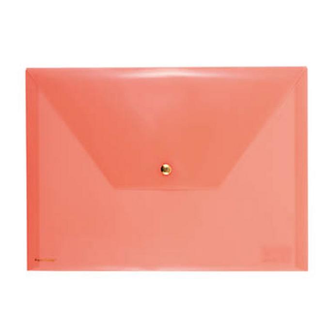 Pochette orange fluo avec bouton pression 33 x 24 cm