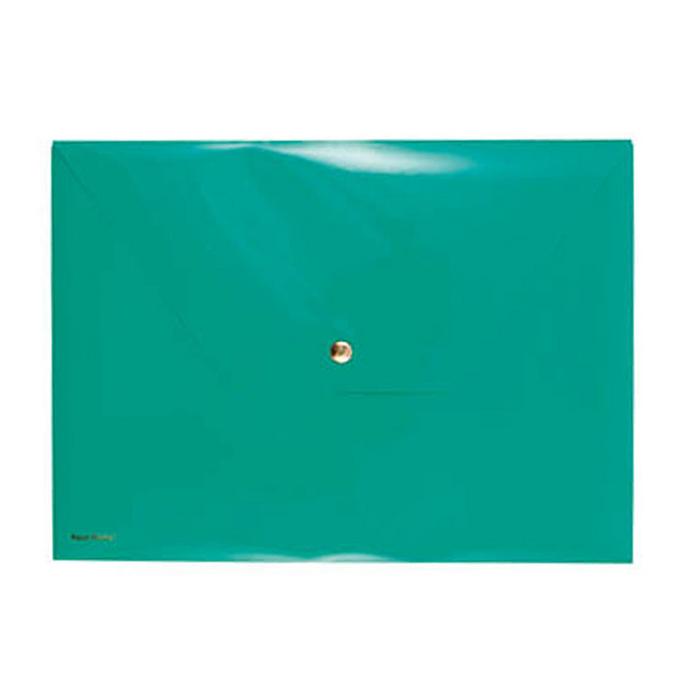 Pochette verte avec bouton pression 33 x 24 cm