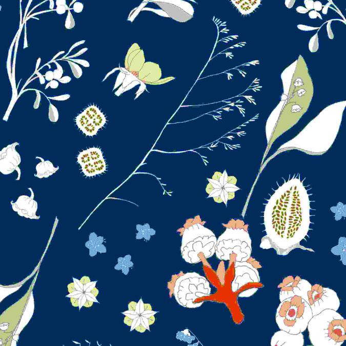 Tissu 50 x 140 cm Fleurs sauvages bleu