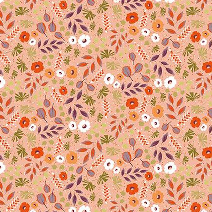 Tissu 50 x 140 cm Fleurs et feuillage abricot