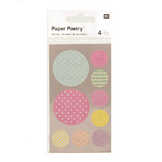 Stickers en papier Washi ronds pastel x 4 planches
