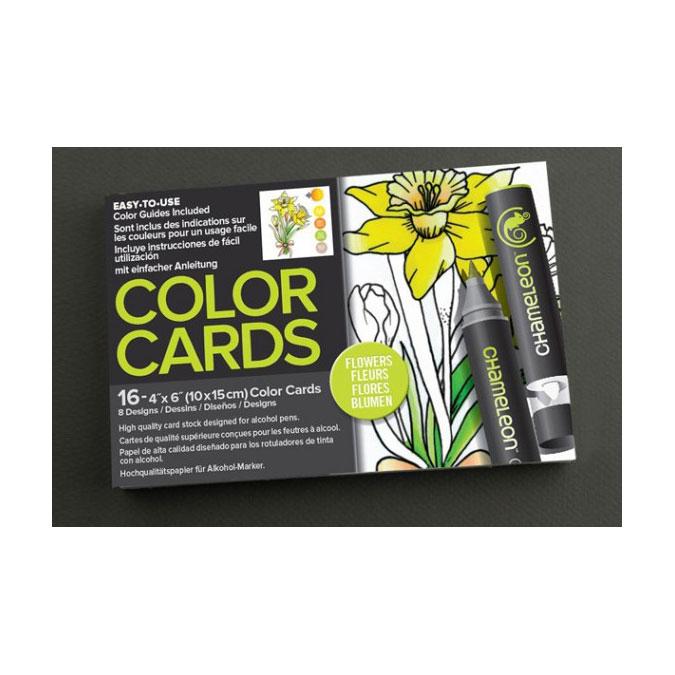 Carte à colorier Format carte postale 10 x 15 cm 16 pcs Thème Fleurs