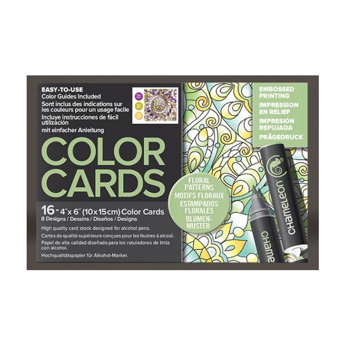 Carte à colorier Format carte postale 10 x 15 cm 16 pcs Thème Motifs Floraux