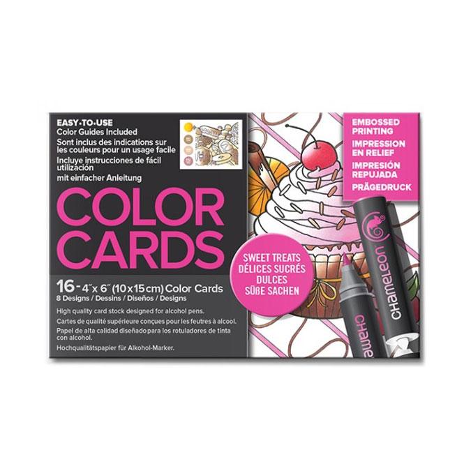 Carte à colorier Format carte postale 10 x 15 cm 16 pcs Thème Délices sucrés