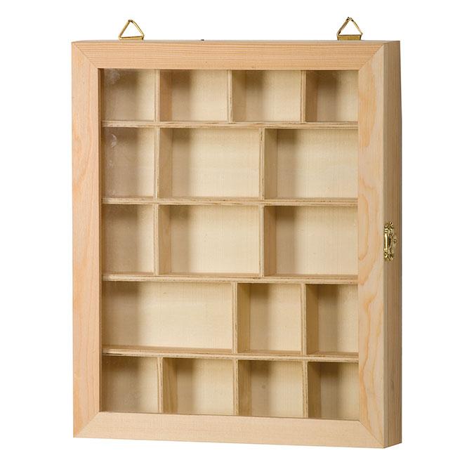 Vitrine en bois compartimentée 23 x 28 x 4 cm