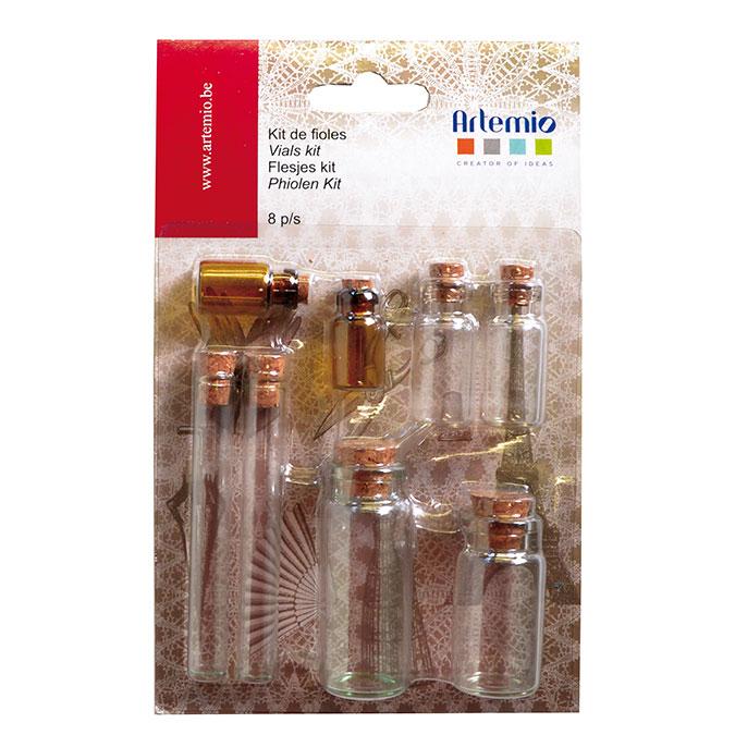 Fiole en verre avec bouchon en liège - 8 pcs