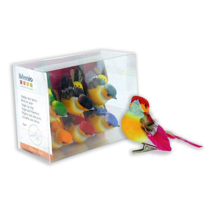 Oiseaux décoratifs sur pince 7 x 4,5 cm - 6 pcs