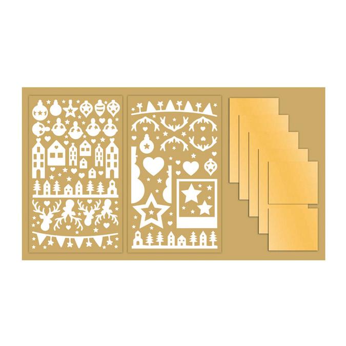 Stickers Joyeux Noël 2 planches 11 x 18,5 cm + 5 feuilles miroir or