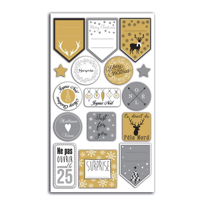 Stickers Emballages cadeaux Or et argent