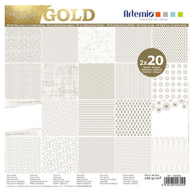 Bloc de papier métallisé 30 x 30 cm Foil Or - 40 feuilles