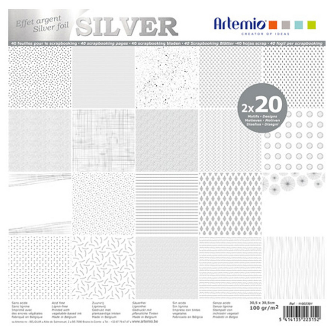 Bloc de papier métallisé 30 x 30 cm Foil Argent - 40 feuilles