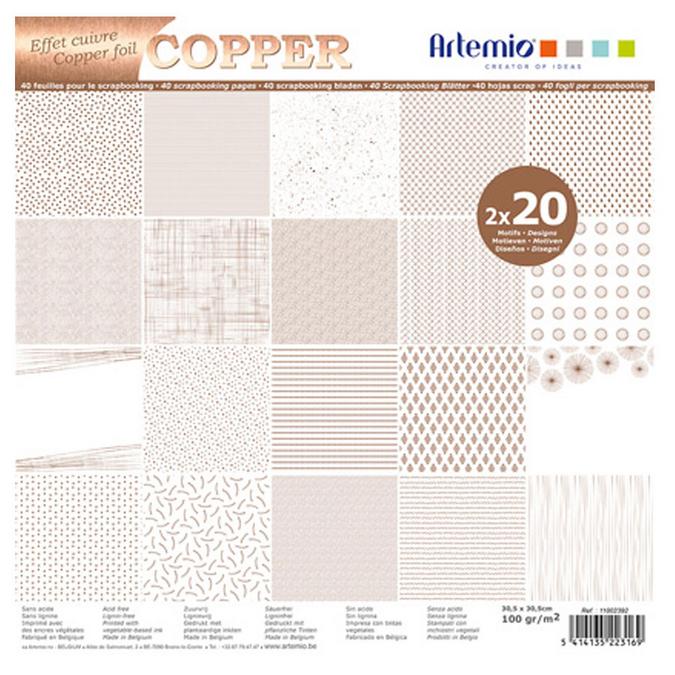 Bloc de papier métallisé 30 x 30 cm Foil Cuivre - 40 feuilles
