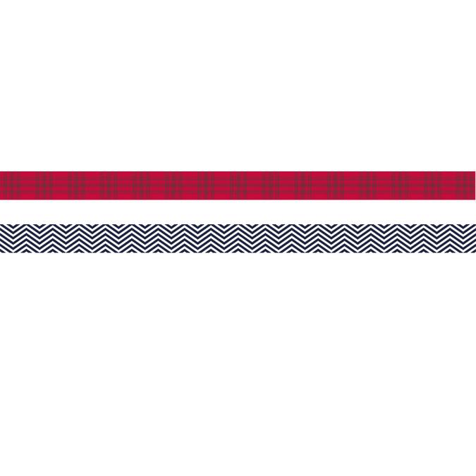 Ruban adhésif décoratif Noël Ecossais 15 mm x 5 m Chevrons